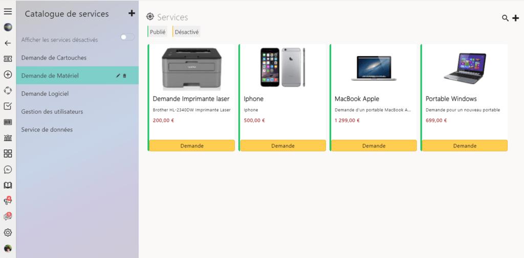 outil helpdesk Catalogue de services
